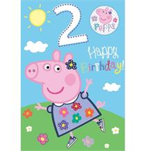 Peppa Pig 2nd Birthday Greeting Card with Badge