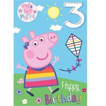 Peppa Pig Age 3rd Birthday Greeting Card with Badge