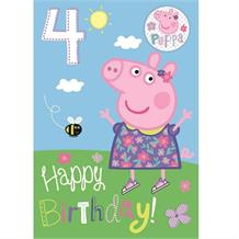 Peppa Pig 4th Birthday Greeting Card with Badge