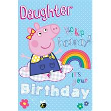 Peppa Pig Happy Birthday Daughter Glitter Greeting Card with Badge