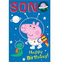 Peppa Pig George Son Happy Birthday Greeting Card with Badge