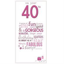 Little Thoughts 40th Birthday Female Greeting Card