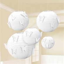 White Paper Butterfly Lanterns | Decorations