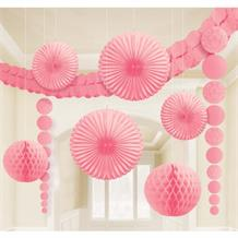Pink Wedding Party Decoration Kit | Garland | Tissue Fans