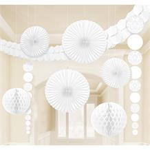 White Wedding Party Decoration Kit | Garland | Tissue Fans