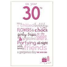 Little Thoughts 30th Birthday Female Greeting Card