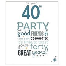 Little Thoughts 40th Birthday Male Greeting Card