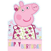 Peppa Pig Happy Birthday Floral Greeting Card