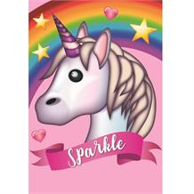 Emoji Unicorn Sparkle Glitter Blank Greeting Card