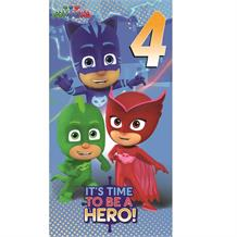 PJ Masks 4th Birthday It's Time to be a Hero! Greeting Card