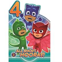 PJ Masks 4th Birthday All Shout Hooray! Greeting Card