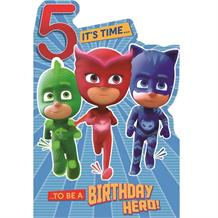 PJ Masks 5th Birthday Greeting Card