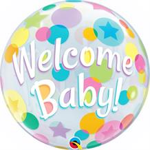 "Welcome Baby Colourful Dots 22"" Qualatex Bubble Party Balloon"