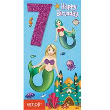Emoji Mermaid 7th Happy Birthday Glitter Greeting Card