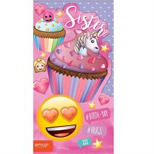 Emoji Unicorn and Cupcake Sister Birthday Greeting Card