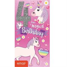 Emoji Unicorn 4th Birthday Magical Glitter Birthday Greeting Card