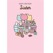 Pusheen Sister Happy Birthday Glittered Greeting Card