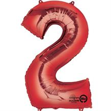 "Anagram Red 35"" Number 2 Supershape Foil 