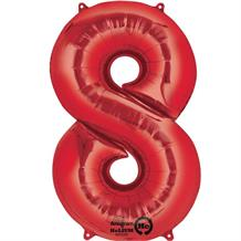 "Anagram Red 35"" Number 8 Supershape Foil 