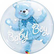 "Baby Boy Blue Bear | Baby Shower 24"" Qualatex Double Bubble Party Balloon"