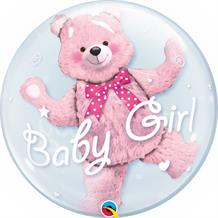 "Baby Girl Pink Bear | Baby Shower 24"" Qualatex Double Bubble Party Balloon"