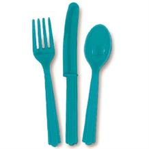 Teal Blue Knife, Fork and Spoon Plastic Party Cutlery Set