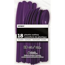 Deep Purple Knife, Fork and Spoon Plastic Party Cutlery Set