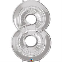 "Qualatex Silver 34"" Number 8 Supershape Foil 