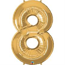 "Qualatex Gold 34"" Number 8 Supershape Foil 