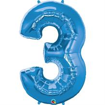 "Qualatex Blue 34"" Number 3 Supershape Foil 
