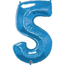 "Qualatex Blue 34"" Number 5 Supershape Foil 