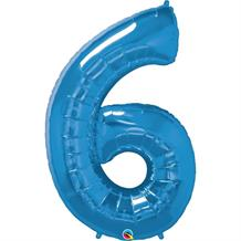 "Qualatex Blue 34"" Number 6 Supershape Foil 