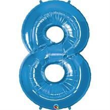 "Qualatex Blue 34"" Number 8 Supershape Foil 
