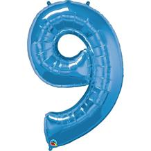 "Qualatex Blue 34"" Number 9 Supershape Foil 