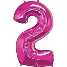 "Qualatex Pink 34"" Number 2 Supershape Foil 