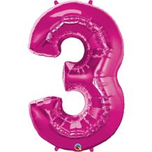 "Qualatex Pink 34"" Number 3 Supershape Foil 