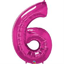 "Qualatex Pink 34"" Number 6 Supershape Foil 