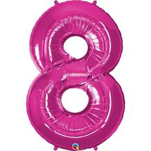 "Qualatex Pink 34"" Number 8 Supershape Foil 
