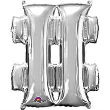 "Anagram Silver 34"" # Hash Tag Symbol Supershape Foil 