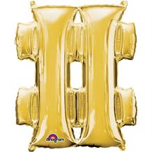 "Anagram Gold 34"" # Hash Tag Symbol Supershape Foil 
