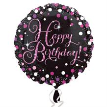 "Pink Sparkling Happy Birthday 18"" Foil 