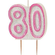 Pink Glitz 80th Birthday Cake Number Candle  | Decoration