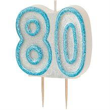 Blue Glitz 80th Birthday Cake Number Candle  | Decoration