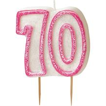 Pink Glitz 70th Birthday Cake Number Candle  | Decoration