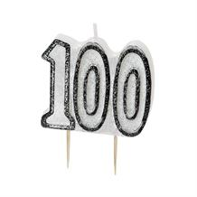 Black Glitz 100th Birthday Party Cake Candle | Decoration
