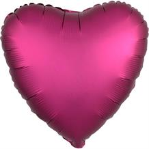 "Pomegranate Pink Heart Satin Luxe 18"" Foil 