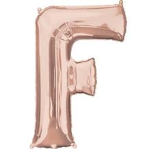 "Anagram 16"" Rose Gold Letter F Foil Balloon"