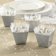 Silver Wedding Scallop Favour Boxes