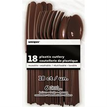 Brown Knife, Fork and Spoon Plastic Party Cutlery Set
