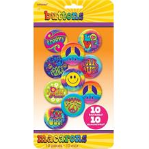 1960's Groovy Party Buttons | Badges Party Favours